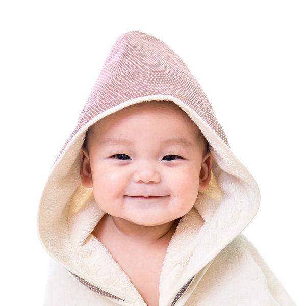 ★衛立兒生活館★Nizio 小蘑菇天然棉紗浴巾(無染)-粉紅點點