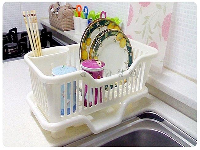 《愛鴨咖啡》廚房用品 滴水架 碗盆收納架 筷子湯匙置物架 餐具架 瀝水架 多用碗架(小號)
