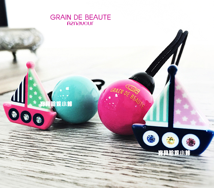 BHJ346-法國品牌Grain de Beaute 施華洛世奇晶鑽小花蜜蜂帆船圓球髮圈 髮束【韓國製】Aznavour