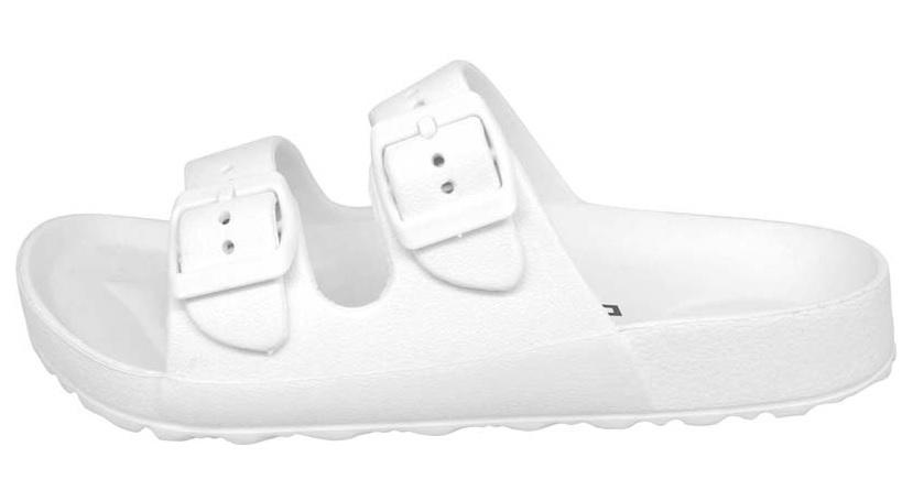 【巷子屋】義大利國寶鞋-DIADORA迪亞多納 女款漾彩時尚雙釦勃肯超輕拖鞋 [3519] 白 超值價$198