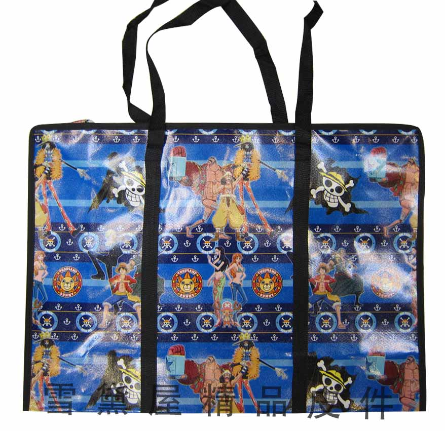 ~雪黛屋~旅行袋批發袋購物袋簡易型防水由底部加強耐重車縫PVC尼龍布摺疊壓扁收納不占空間正版授權提背JJ752-2A