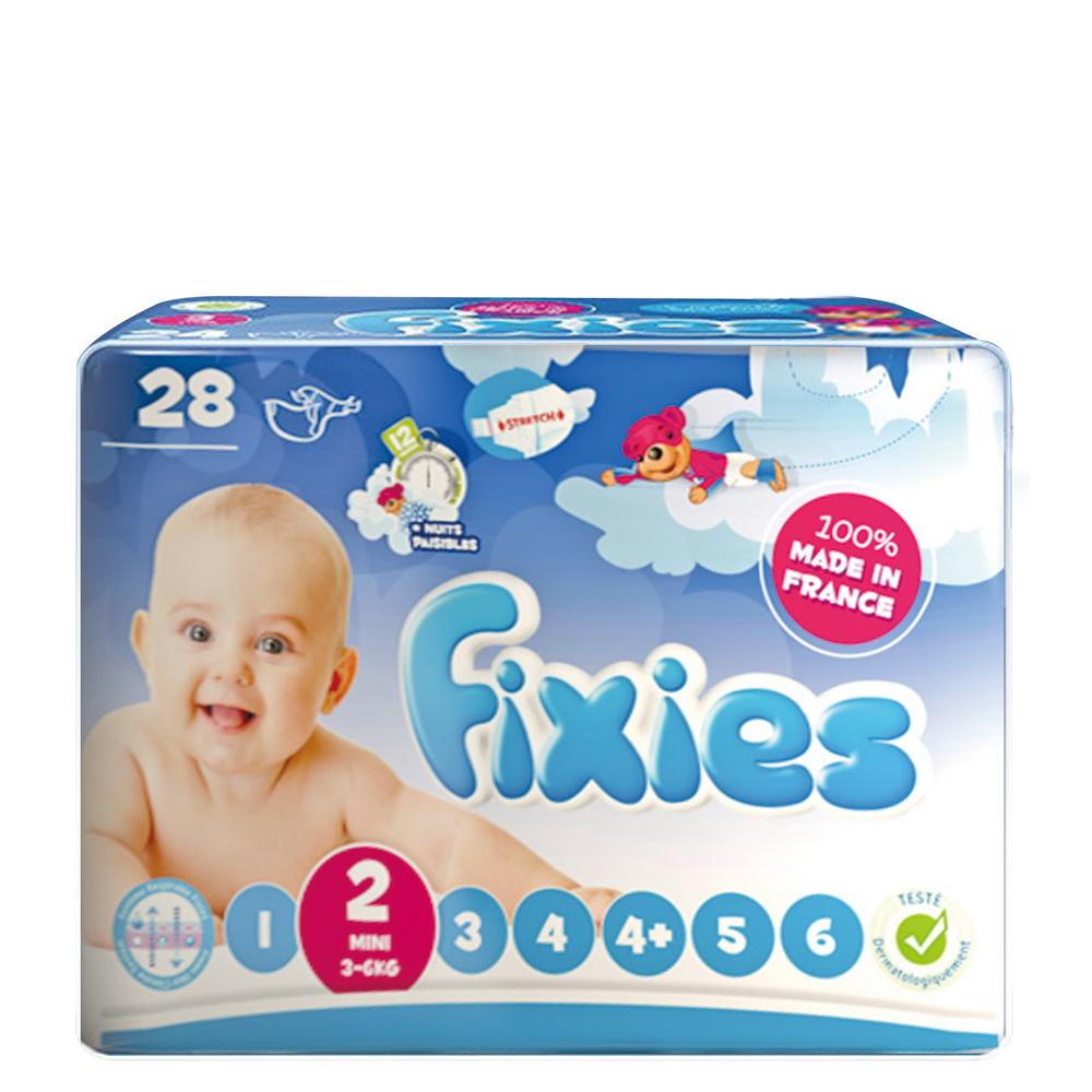 小崴Life親子館-Fixies 寶貝愛因斯坦長效型嬰兒尿布 (S) 2號 3~6kg (28片) 棉柔紙尿布