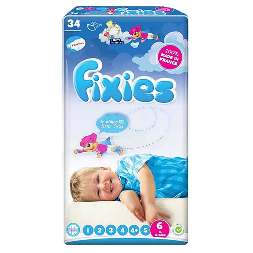 小崴Life親子館-Fixies 寶貝愛因斯坦長效型嬰兒尿布 (XXL) 6號 16~30kg (34片) 棉柔紙尿布
