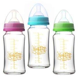 小崴Life親子館【貝喜力克 Basilic】防脹氣高耐熱寬口徑玻璃奶瓶 240ml/8oz (D257)