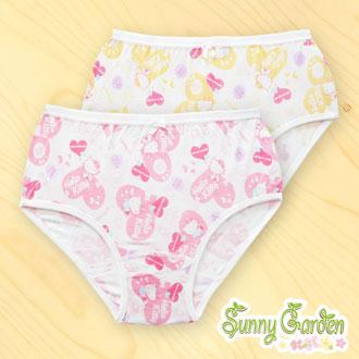 三麗鷗Hello Kitty女童內褲-天然木纖粉色/黃色三角褲一入,愛心系列