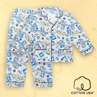 三麗鷗SHINKANSEN兒童童裝美國純棉灰色長袖翻領睡衣‧標誌告示系列