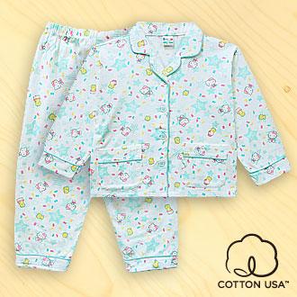 三麗鷗Hello Kitty兒童童裝美國純棉淺綠色長袖翻領睡衣‧星星彩豆系列
