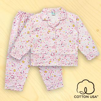 三麗鷗Hello Kitty兒童童裝美國純棉粉色長袖翻領睡衣‧星星彩豆系列