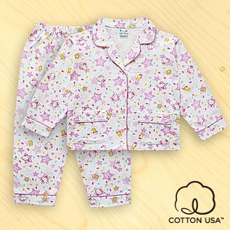 三麗鷗Hello Kitty兒童童裝美國純棉紫色長袖翻領睡衣‧星星彩豆系列