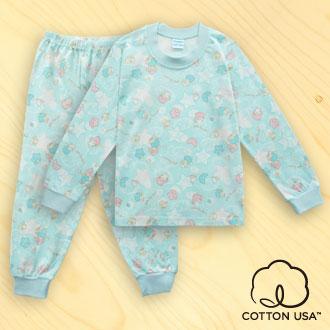 三麗鷗LITTLE TWIN STAR兒童童裝美國純棉果綠色長袖居家套裝‧漫遊星空系列