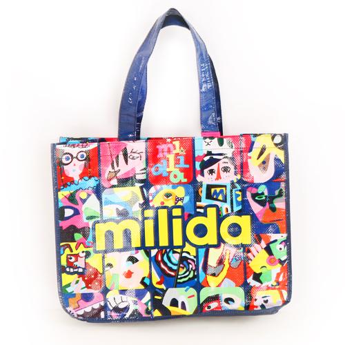 【Milida,全店七折免運】-送品牌購物袋-歐風流行塗鴉環保購物袋