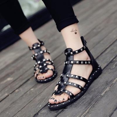 平底鞋鉚釘羅馬涼鞋-鏤空魚骨個性時尚女鞋子2色73ey21【獨家進口】【米蘭精品】