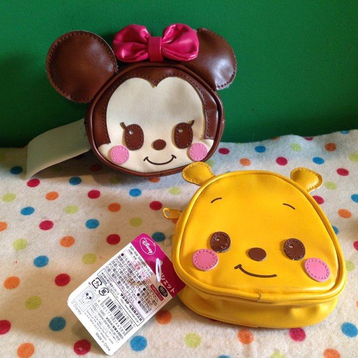 =優生活=【獨家商品】日本原裝進口迪士尼 米妮 維尼 立體小側包 零錢包 兒童背包