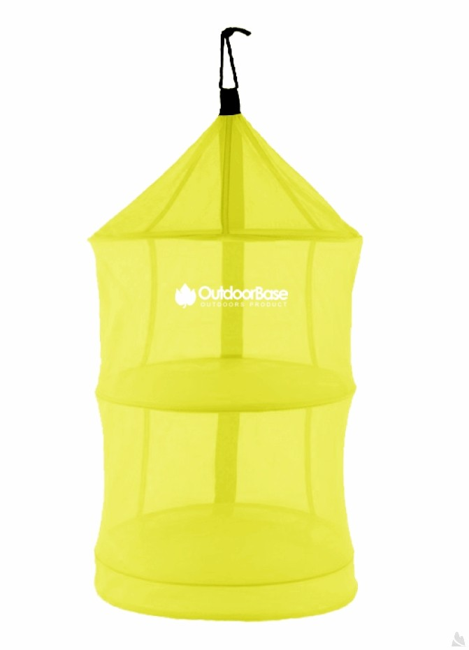 【露營趣】中和 OutdoorBase 25834 小黃蜂摺疊餐籃 多用途收納 圓形吊籃 四層餐櫥籃 食材吊籃 餐具掛籃