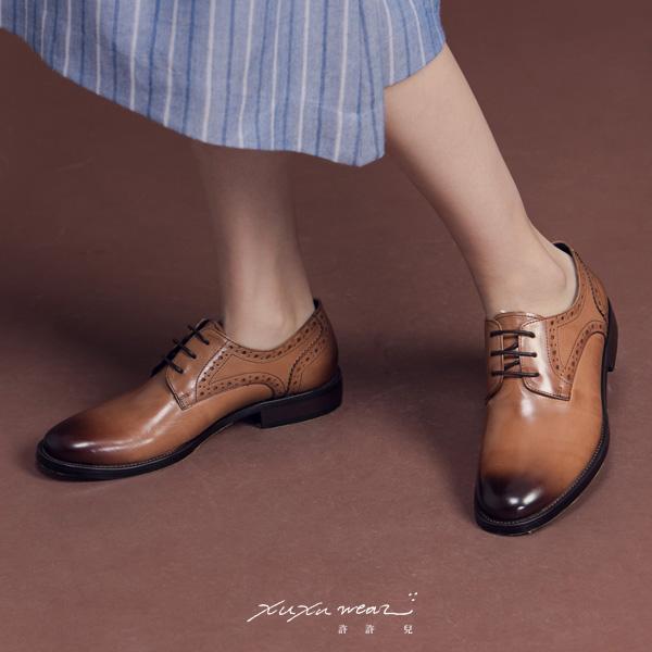 許許兒∵紳士舞會蠟感雕刻牛津鞋-手工烘豆