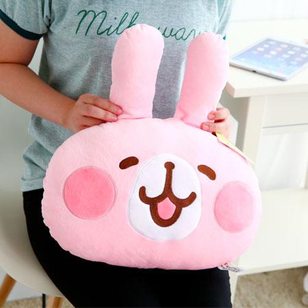 正版卡娜赫拉小動物頭型抱枕 抱枕 靠墊 靠枕 娃娃 兔子 小兔兔 貓咪 P助 小雞 Kanahei【B062096】