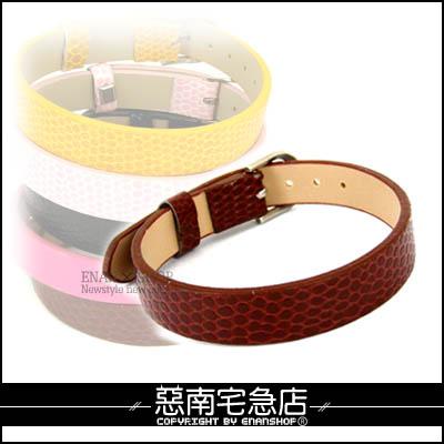 惡南宅急店【0086B】『皮革小蛇紋單品手環』錶扣設計可調整,情侶對鍊.單款區