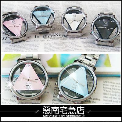 惡南宅急店【0099F】日韓系春夏潮流『倒三角簍空金屬手錶』可當情侶對錶。單款區