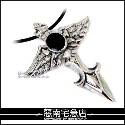 惡南宅急店【6074A】專櫃合金白K『天使飛翼/大黑皓石項鍊』情侶對鍊。單條區