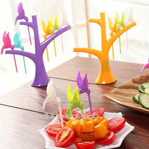【N16010602】創意樹梢小鳥水果叉 6支裝 時尚可愛環保水果叉子