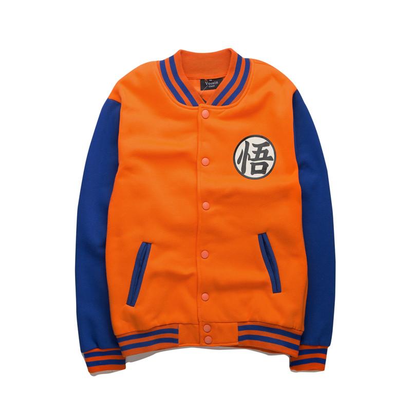 50%OFF【A019095C】七龍珠悟空刷毛鋪棉厚版刷絨棉棒球外套