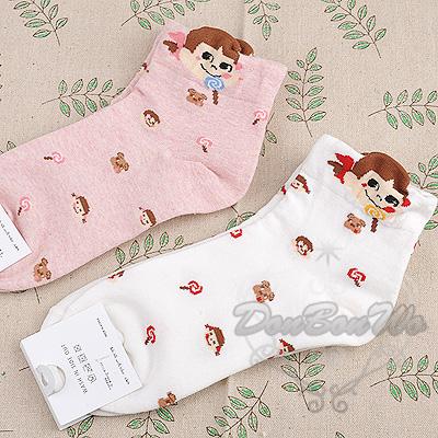 日本不二家牛奶妹韓版短襪大臉棒棒糖多圖粉012701海度