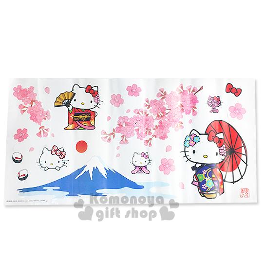 〔小禮堂〕Hello Kitty 創意壁貼《和服.櫻花.富士山》隨心創造夢幻空間.透明塑膠裝
