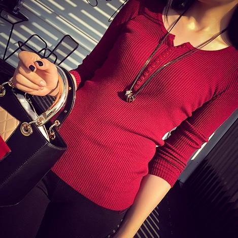 PS Mall V領套頭毛衣鈕扣系扣修身顯瘦長袖打底針織衫【T4418】