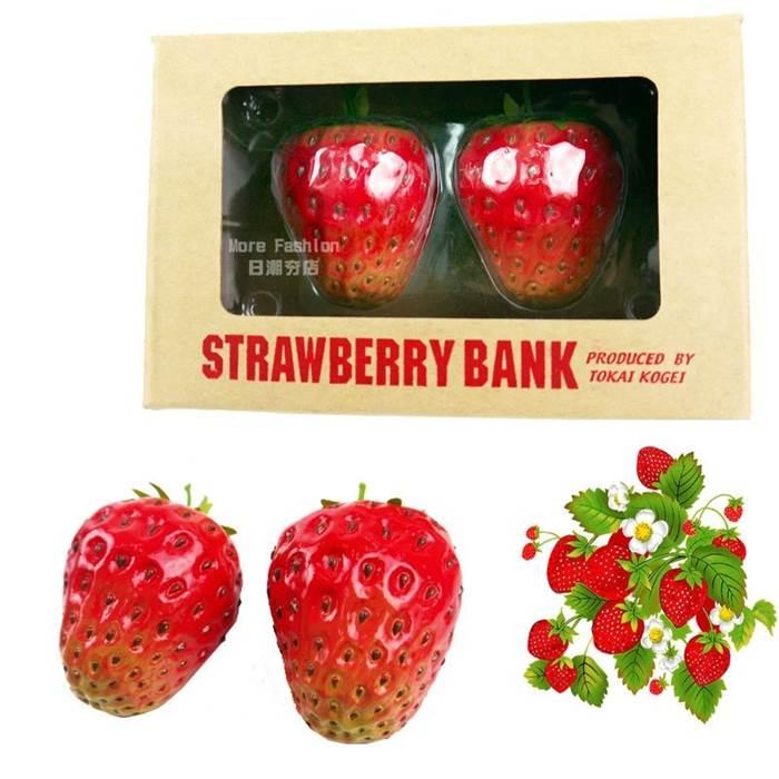 日潮夯店 日本正版 超逼真 100%擬真 草莓  造型 存錢筒 儲金箱 撲滿 兩個一入 盒裝