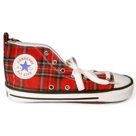 CONVERSE(ALL STAR)正版授權帆布鞋造型筆袋_紅聖誕節格紋風格_H138-06