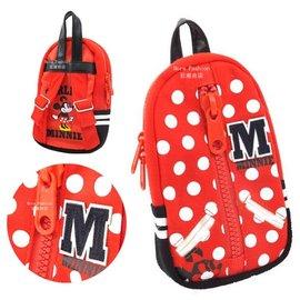 日潮夯店 日本正版 Disney 迪士尼 Minnie 米妮  紅白點點 小巧後背包 造型 筆袋 化妝包 收納袋