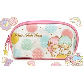 日潮夯店 日本正版 Little Twin Star 雙子星 KiKiLaLa  防潑水 彩色點點 筆袋 鉛筆盒 化妝包