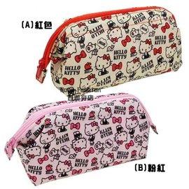 日潮夯店 日本正版 Hello Kitty 凱蒂貓 滿滿Kitty  大開口鐵絲架 容量大 化妝包 筆袋