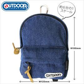 日潮夯店 日本正版 OUTDOOR Backpack 1:6  可愛小巧後背包 筆袋 化妝包 收納袋 單寧牛仔風款