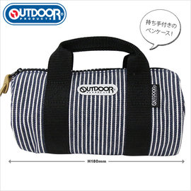 日潮夯店 日本正版 OUTDOOR Roll Boston 1:6  可愛小巧旅行袋 可當 筆袋 化妝包 收納  直條紋款