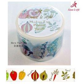 日潮夯店 日本正版 Aimez le style 3.8cm 粗 紙膠帶 Vegetable 蔬果季節 款