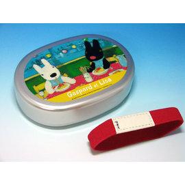 日本正版進口_日本製Gaspard et Lisa 卡斯柏與麗莎 (黑白狗)鋁製小巧 有分隔 便當盒(附束帶)