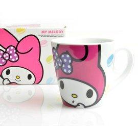 日本正版_Melody 美樂蒂寬口馬克杯 超大容量_白底馬卡龍  馬克杯/水杯/牛奶杯