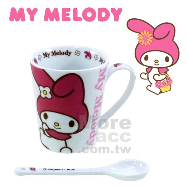 [日潮夯店] 日本正版進口 超可愛 Sanrio三麗歐My Melody美樂蒂 馬克杯 水杯 附湯匙