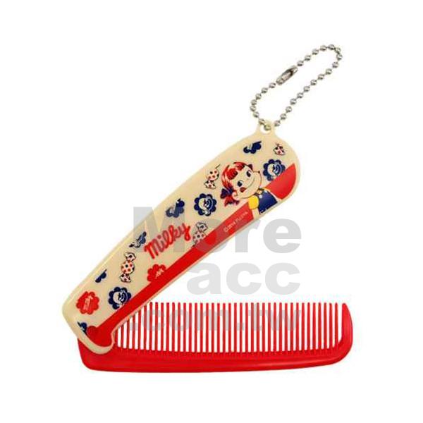[日潮夯店] 日本正版進口 不二家牛奶妹Milky Peko醬大頭紅白 折疊梳 隨身梳 扁梳