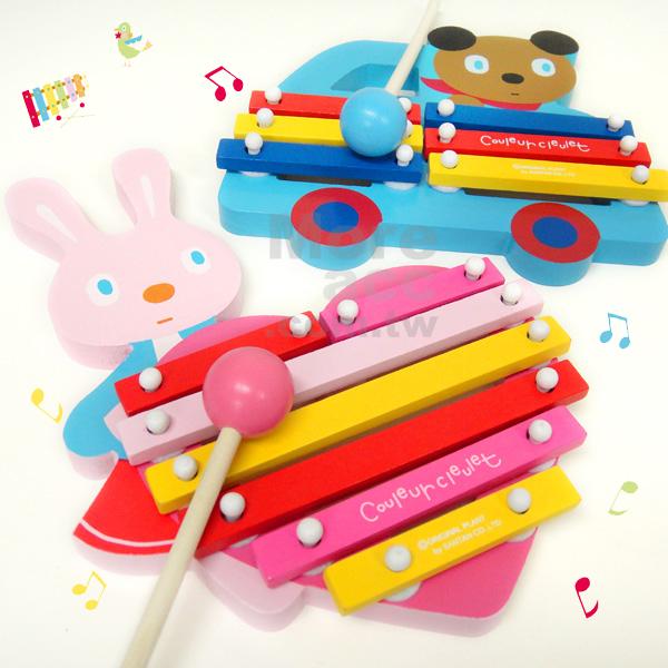 [日潮夯店] 日本正版進口 Couleur cleulet 動物家族 兒童 愛心 兔 汽車 熊 木琴組 共兩款