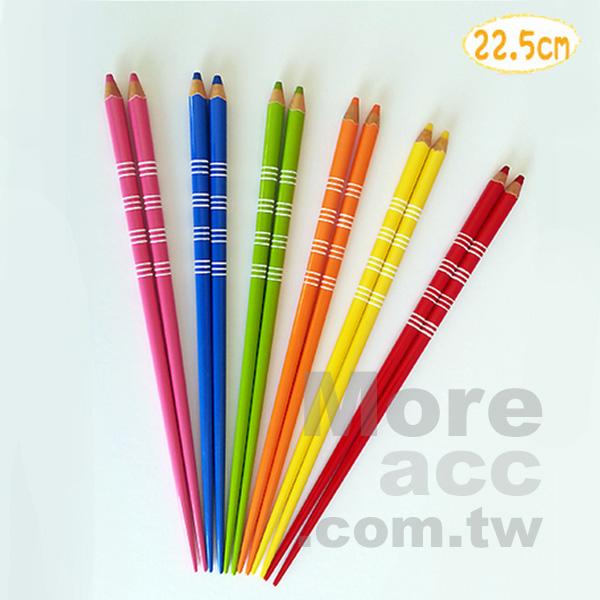 [日潮夯店] 日本正版進口 色鉛筆 造型 22.5cm 天然木 筷子 環保筷 日本製 三色