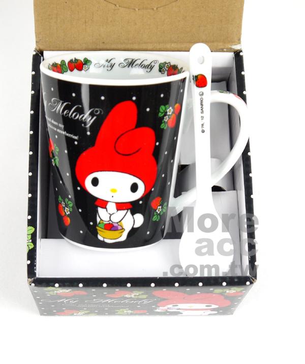 日本正版進口_Melody美樂蒂 黑白點點 小紅帽 陶瓷馬克杯湯匙組