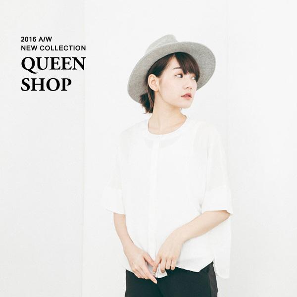 Queen Shop【01093766】中山領落肩竹節麻上衣 兩色售*現貨+預購*