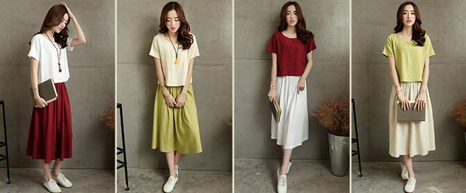 棉麻兩件套中長款連衣裙上衣+半身裙短袖套裙