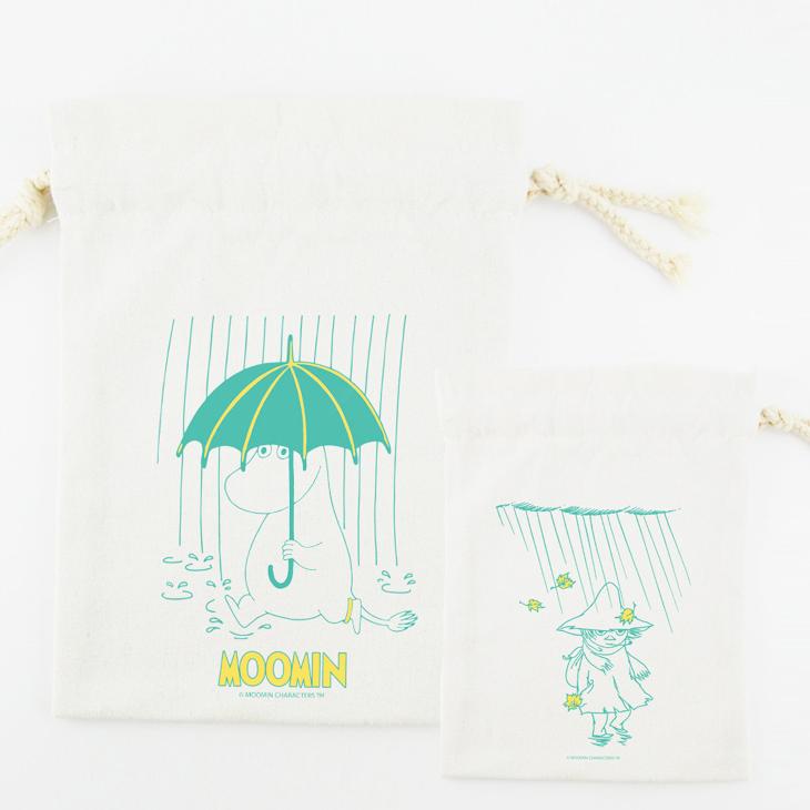 Moomin嚕嚕米授權 - 束口袋:【 雨中散步 】