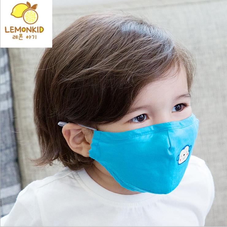Lemonkid◆可愛純色小花猴子活性炭PM2.5防護舒棉防塵口罩-湖藍色