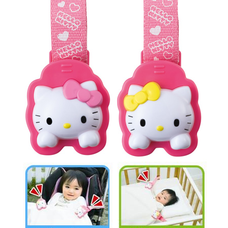 日貨 正版Hello kitty嬰兒車用棉被夾(2入1組) 推車萬用夾 凱蒂貓 KT 三麗鷗 Pinocchio【N201083】