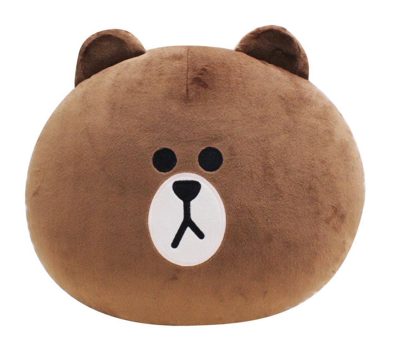【UNIPRO】LINE FRIENDS 熊大 BROWN 布朗熊 頭型絨毛玩偶 娃娃 保暖枕 暖手枕 抱枕 靠枕 正版授權