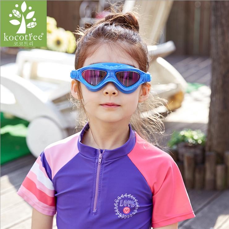Kocotree◆時尚注目酷炫彩男女通用兒童泳鏡防水護目鏡-炫彩藍